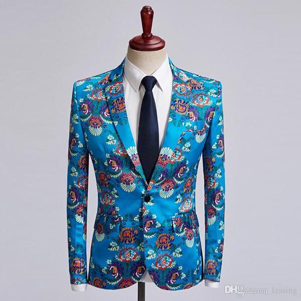 Erkek Gök Mavisi Lüks Blazer Ceket 2018 Yepyeni Paisley Çiçek Bronzlaştırıcı Suit Blazer Erkekler Parti Festivali Düğün Blazers Hombre