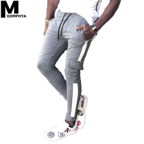 Moomphya 2019 Novas Listras Laterais Mens Basculadores Calças Streetwear Hip Hop Calças Dos Homens Longos À Moda Bolso Dos Homens Calças De Carga