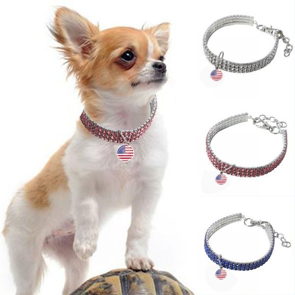 ABD Bağımsızlık Günü Köpek Tasmaları Parlak Plastik Rhinestone Yavru Pet Kolye Elmas Bağımsızlık Günü Köpek Kediler Tasmalar Tasma