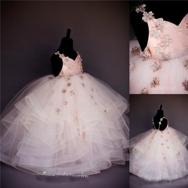 Pale Pink Ball Gown Girls Pageant Dresses 2019 Cute Princess Spaghetti Straps Handmade Flowers Puffy Ruffles Flower Girl Dress Formal Dress
