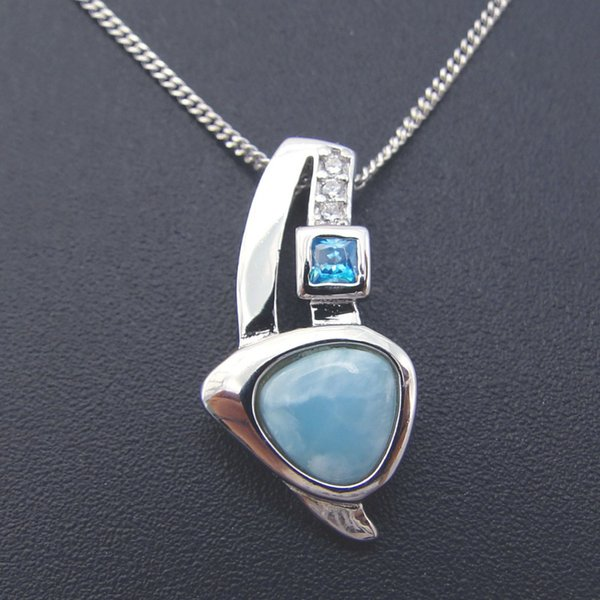 natural larimar jewelry women pendant crystal pendant 100% 925 sterling silver gemstone without chain