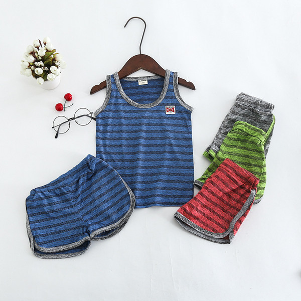 5 clors Summer New children's sportwear Baby Boy Embroidery Striped vest suit boys Jersey kids sportwear sets