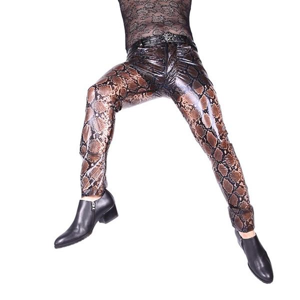 2019 homens sexy pu calças de couro python modelado fino semi transparente transparente apertado calças casuais elegante novo
