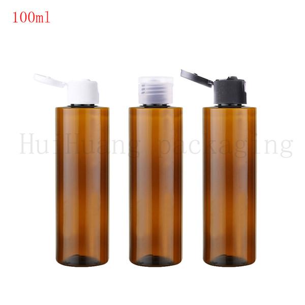 50pcs 100ml Flip Screw Cap Bottle,Brown Plastic Cosmetic Container,Small Essential Oil Bottle,Amber Empty Liquid Vials