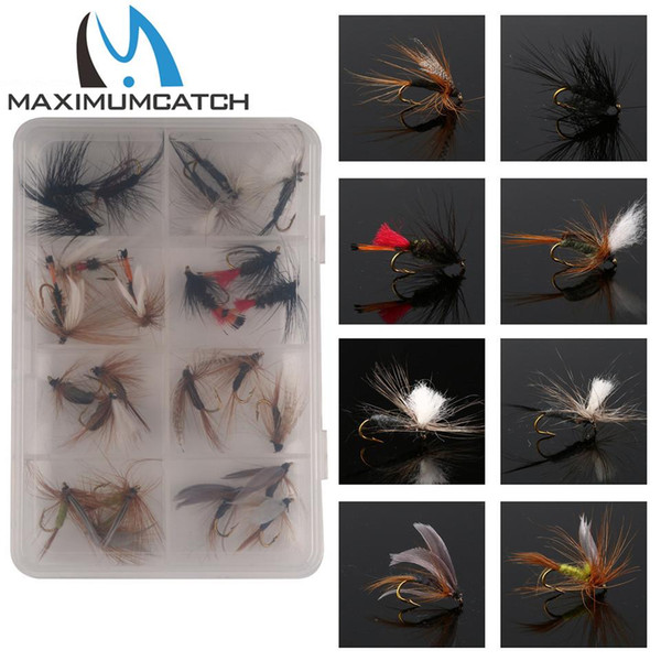 Wholesale- Maximumcatch 24Pieces Confezione mongolfiera mista / set Feather Bait Hook Fly Flies Gancio per pesca Esca Mosche per la pesca