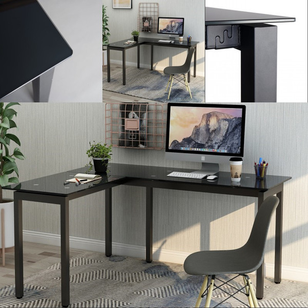 2019 Fashion Black L Shape Home Office Corner Computer Desk PC Laptop Table  Workstation With Tempered Glass Top Fast Shipping From Greatfurnishing, ...
