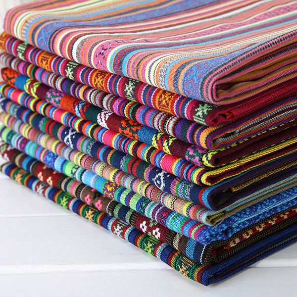 top popular Width 150cm Ethnic Bohemian Style Thick Striped Fabric Upholstery Canvas Cotton Fabric Boho Home Decor Fashion Craft Supplies fabrics 2021