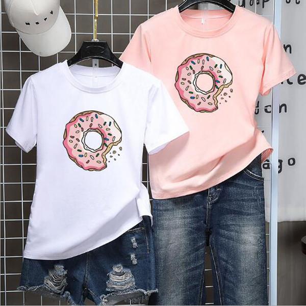 Rosquinhas Imprimir Mulheres camiseta primavera Verão de Manga Curta Em Torno Do Pescoço de Algodão Spandex Mulheres Tops Slim Fit Tshirt