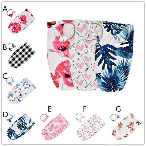 7 Colors Baby Girls ins hot cocoon shape sleeping bag 2pc set bow headband+47.5x26.7cm New Borns Floral Plaids Arrows trendy swaddle sets