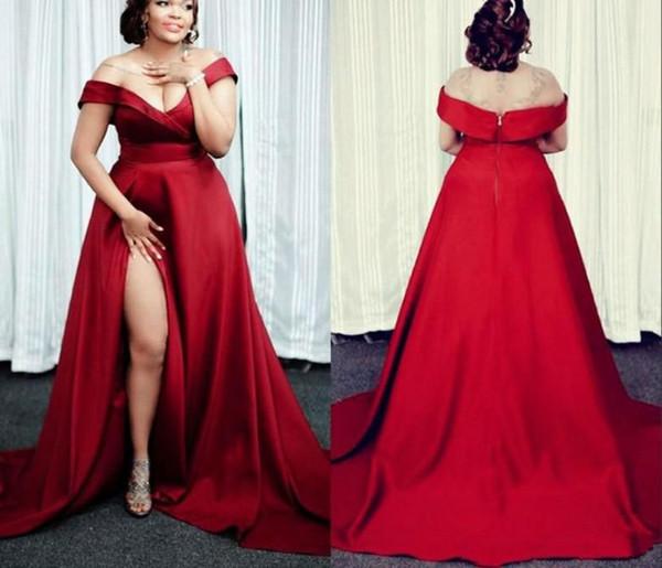2019 Vestidos de noche rojos y de talla grande Vestidos de fiesta formales baratos Hombro estilo de pista Satén Lado alto Corte sin espalda Vestido de concurso