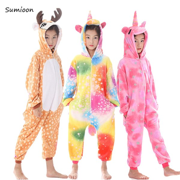 Kigurumi Onesie Kids Pijamas Unicorn Pajamas For Boys Girls Winter Animal Pyjamas Children Sleepwear Teen Overalls 4 6 8 10 Year J190520