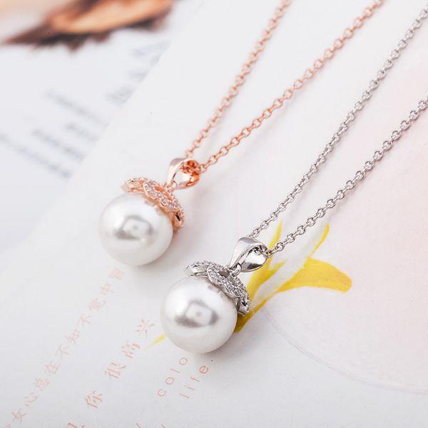 Pendentif Japonais Coréen Populaire argent fin 925 femmes Cuivre marqueté Zircon Perle Clavicule Collier simple collier de perles entier
