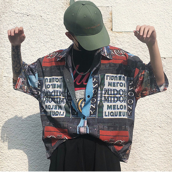 Summer 2019 Solid Color Letter Printing Pattern Short Sleeve Shirts Men Easy Comfortable Streetwear Hip Hop Loose Fit Shirts