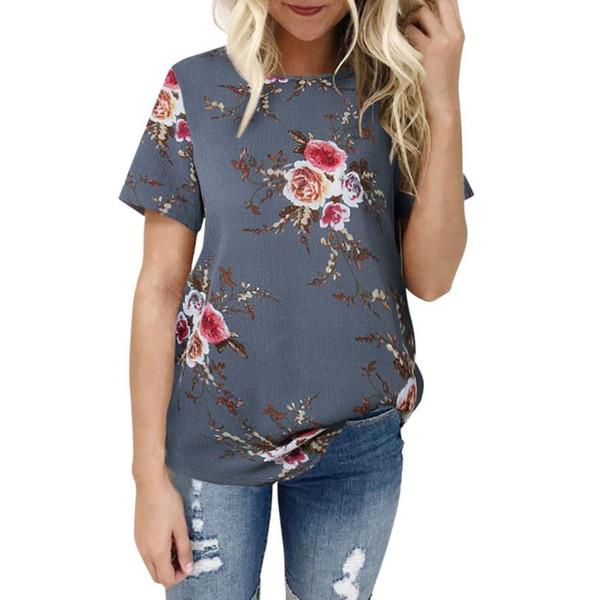 camiseta de las mujeres imprimir camiseta damas tops floral poliéster o-cuello regular verano camisetas para mujer moda casual