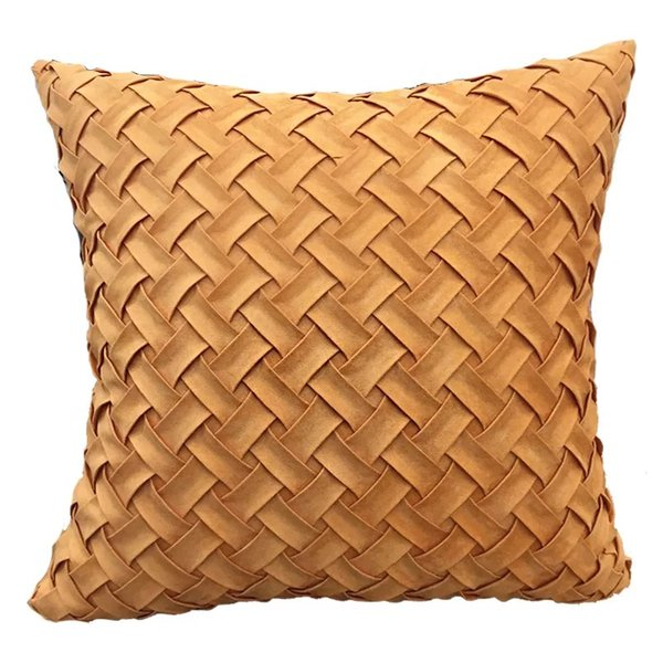 Suede Fabric hand woven orange and yellow pillowcase Simple Modern 45x45cm Geometric Decorative Throw Pillow Covers For Sofa