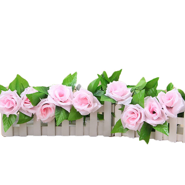 1Pc Silk Rose Vine Realistic Hanging Garland With Leaves Artificial Flowers Plants For Hotel Wedding Home Party Garden Craft Art