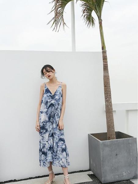 2019 summer new dress women's off-the-shoulder lotus leaf sleeve pleated dress print chiffon dress female