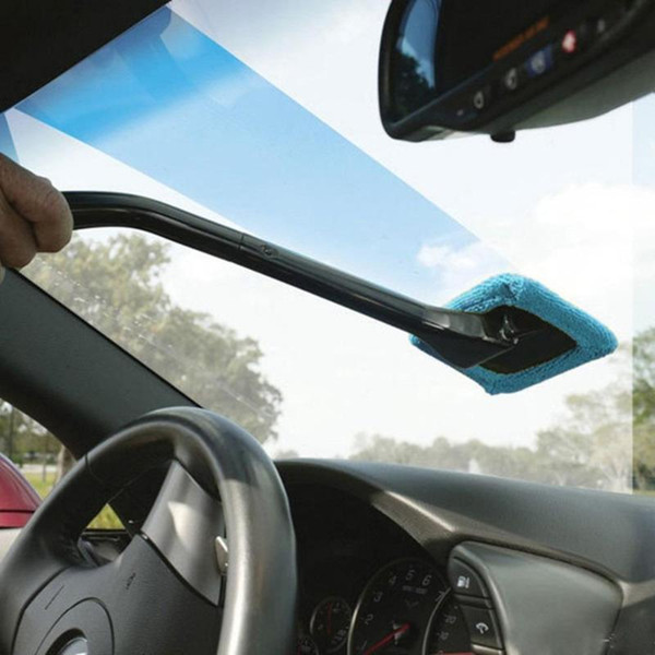 2X Microfiber Long Handle Car Wash Brush Auto Window Clean Car Window Windshield Cloth Clean Tools Washable Shine Handy