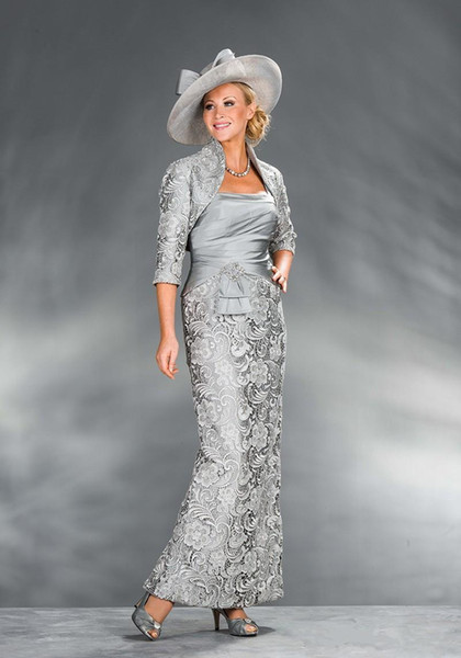 2019 New with Jacket Formal Gowns Silver Satin Evening Party Gowns Mother of the Bride Dresses Prom Dresses vestidos de fiesta