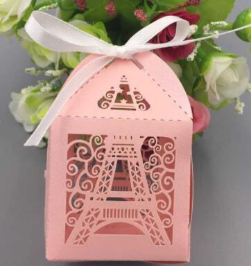Paris Eiffelturm Pralinenschachtel Hochzeitsfest-Geschenkverpackungen liefert Hochzeitsbevorzugungen und -geschenke Babypartybevorzugung Laser geschnittene Geschenkbox Wholesale-100pcs