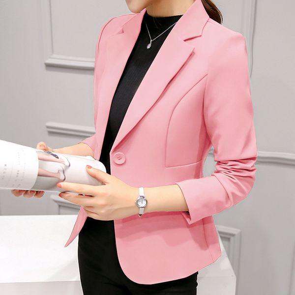 Elegant Business Lady Jacket New 2019 Women Full Sleeve Work Blazer Female Casual Coat Six Color Available J190716
