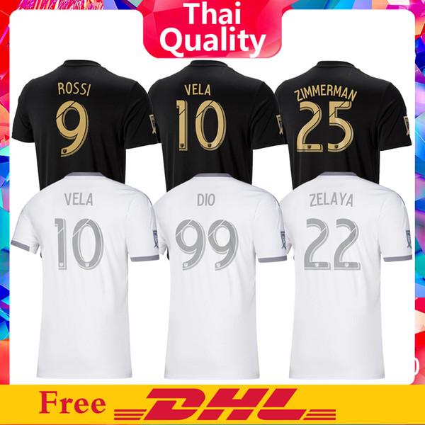 Freier DHL Versand MLS 2019 LAFC Trikot Heim Schwarz Auswärts Grau Weiß Los Angeles FC Fußball Trikot ROSSI VELA DIO ZIMMERMAN Thailändische Qualität