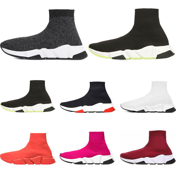 2019 Designer Shoes Speed Trainer bule black white red green Flat Fashion mens womens Socks Sneakers size 36-45