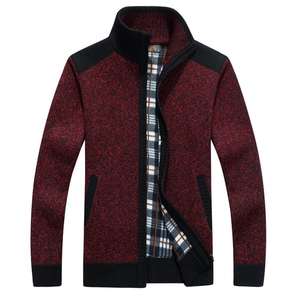 new men casual cardigan male warm sweater coats zipper pull homme men clothes autumn winter fleece sweaters, White;black