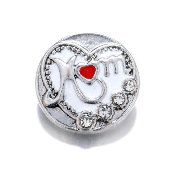 3 Unids / lote The Bloomer Snap Metal blanco botón de la flor del aceite para los encantos de la pulsera Fit DIY 18mm Joyería Para Las Mujeres SB036