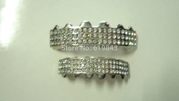 Gros-REAL SHINY !! GOLD REAL PLAQUÉ HIPHOP DENTS GRILLZ HAUT BAS SET GRILL