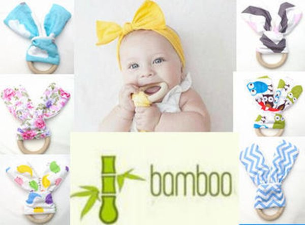 Baby rabbit ear - safe organic wood teething ring and wooden frilling sensory toys natural teething tools for teething training