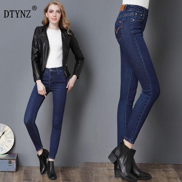 DTYNZ Plus large size jeans ladies black blue jeans high waist denim ladies pants high elastic tight pencil stretch ladies