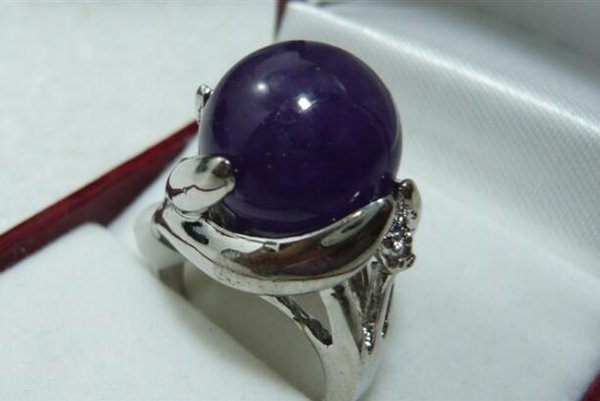 Jewelryr Jade Ring wholesale noble 14mm dark blue Natural Stone fashion ring(#7.8.9) Free Shipping
