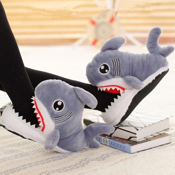 Winter Women Shoes Warm Slippers Funny Slippers Men Women Soft Bottom House Indoor Floor Shark Shape Furry Shallows