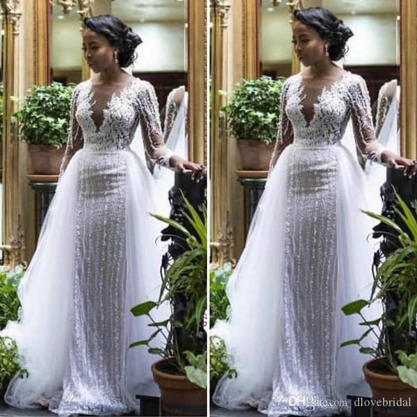 Luxury Long Sleeve Lace Wedding Dresses With Detachable Skirt Illusion Open V Neck Bridal Gown Vestido De Noiva High Quality Custom Made Wedding Dress