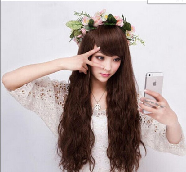 WIG 1122+++Fashion New Womens Long Wavy Cosplay Party Dress Full Bangs Hair Wig