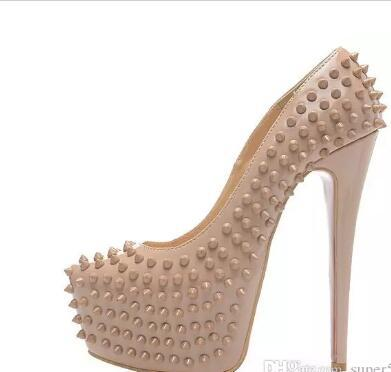 Designer Brand Nude Leather Platform Rivets Square Toes Red Bottom High Heels,Fashion Black Shiny Leather Waterproof Platform Dress Shoes