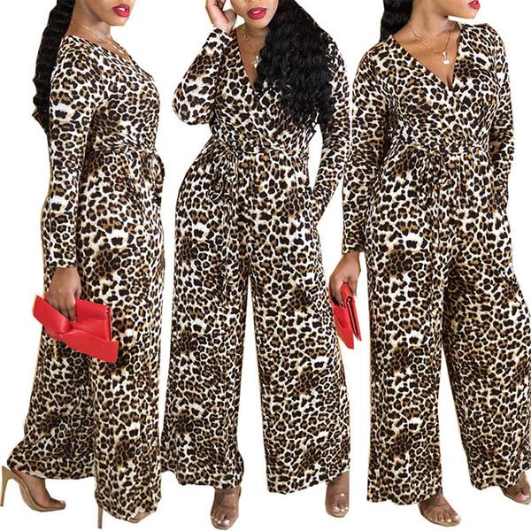 Сексуальные женщины Leopard Комбинезон V шеи леопардовый бинты Широкий ноги легкий костюм с шортами Clubwear Сыпучие Комбинезоны Женская мода подарков