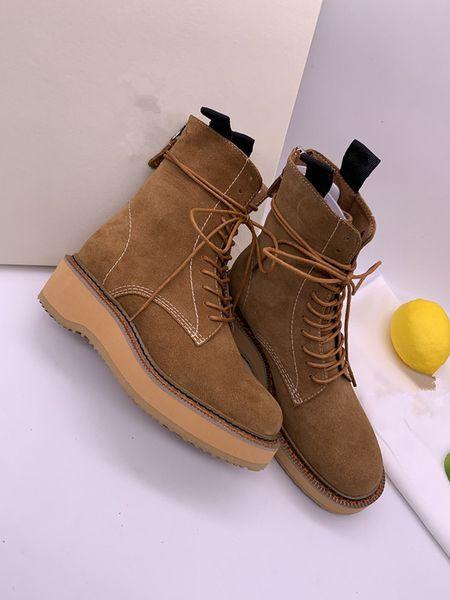 Laureate Platform Desert Boot Womens Leather Tobillo Martin Botas con cordones Chunky Heel Ladies Cow Leather Designer Winter Boots rx19081901