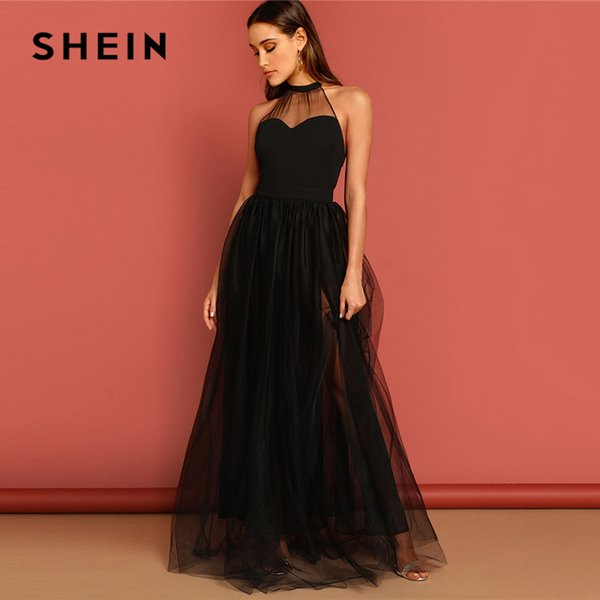 9649d1e4c552bc SHEIN Black M-slit Mesh Overlay Halter Sheath Dress Elegant Plain Round  Neck Sleeveless Tank