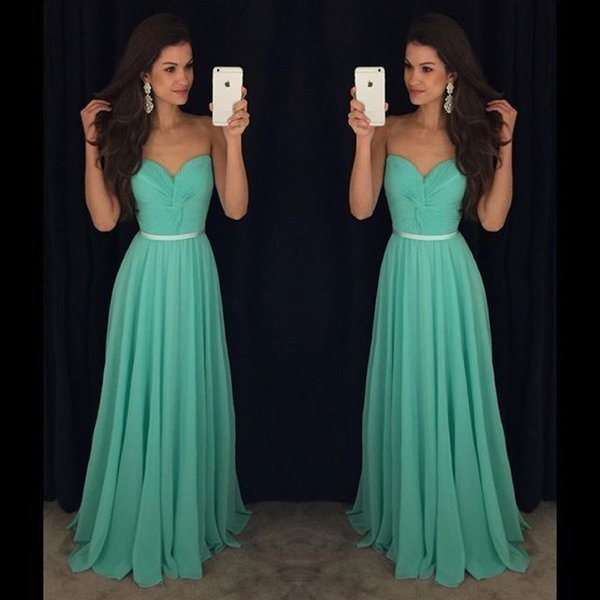 Pleated Chiffon Prom Bridesmaid Dresses Long Cheap Strapless Sweetheart Neckline Belt Formal Evening Gowns Cocktail Party Sweet 16 Dress