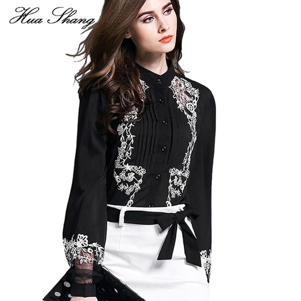 New Fashion Women Tops Embroidery Transparent Floral Lantern Sleeves Black Blouse Shirt Ladies Work Wear Office Chiffon Blouse J190613