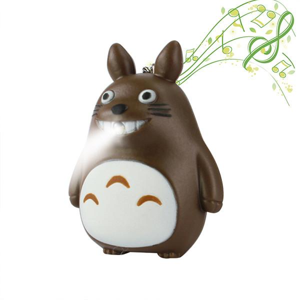 Chaveiro dos desenhos animados com Luzes LED Noite Música-fazendo Lanterna De Emergência Lanterna Pingente Mochila Totoro Presentes das Crianças Azul Cinza Marrom