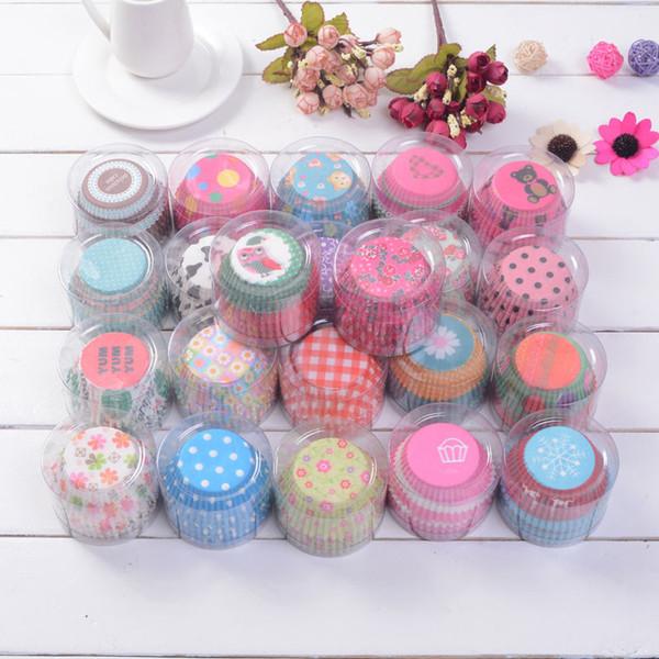 100pcs Set zufällige Farben Kuchen-Backen-Papier Cup-Kuchen-Muffin-Kästen Zuhause-Party