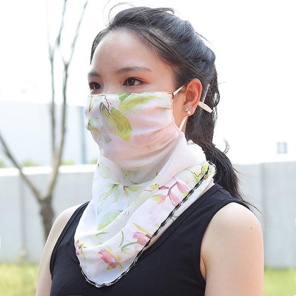 Best Selling Suncreen Scarf Spring Summer Bib Large Mask Outdoor Travel Neck Fashion Hair Band Full Face Anti-UV Chiffon Thin Veil Bandana