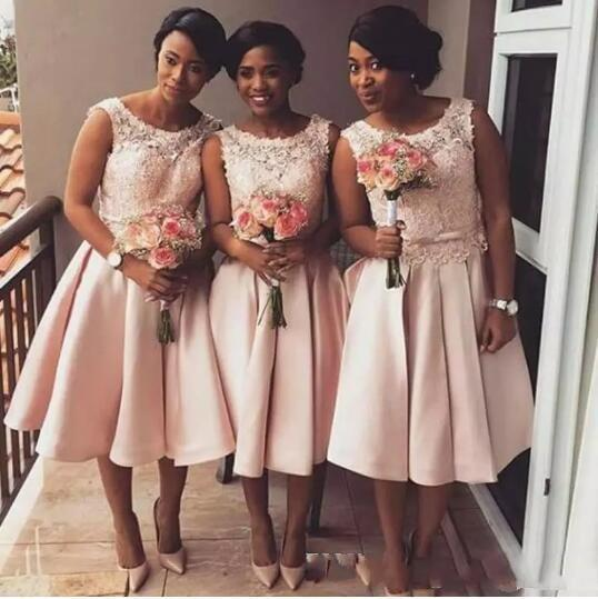 2020 Cheap Blush Pink Lace Short Bridesmaid Dresses African Beach Maid of Honor Gowns Junior Formal Wedding Guest Formal Wear Tea Length
