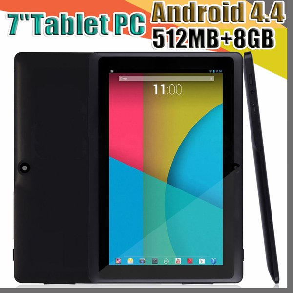 best selling 100X 2018 Dual Camera Q88 A33 Quad Core Tablet PC 7 Inch 512MB 8GB Android 4.4 kitkat Wifi Allwinner Colorful DHL MID cheapest A-7PB