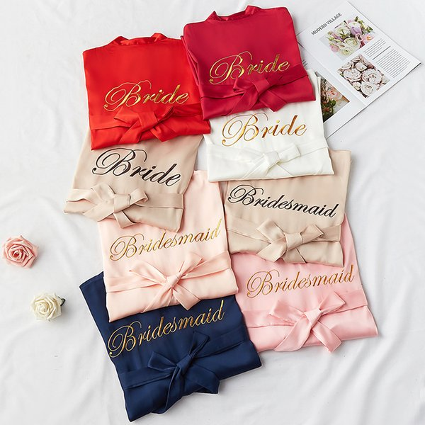 Letter Sexy Women Satin Robe Bride Bridesmaid Wedding Dress Embroidery Ice Silk Sleepwear Nightgown Japan Kimono Bathrobe Gown