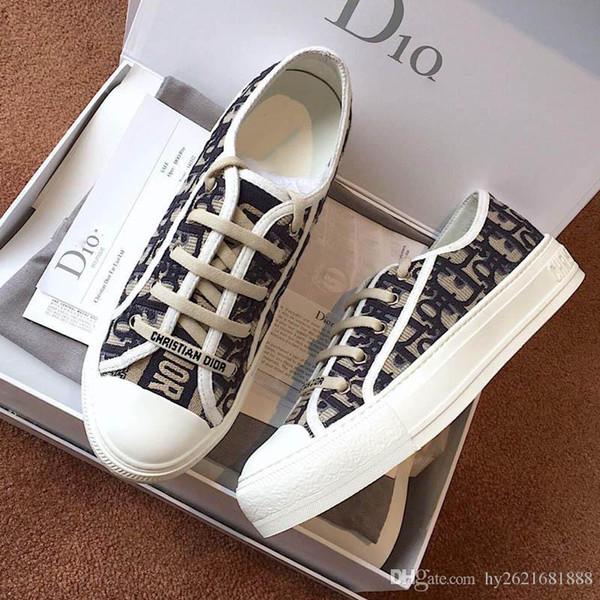 Kadın Rahat ayakkabılar Sneaker Düz Antrenörler Yürüyüş Spor Antrenörleri Kanvas ayakkabılar Marka Tasarımcı ayakkabı Orijinal Kauçuk Taban Ab: 35-40 Kutu 03 ile