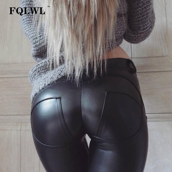 Fqlwl Plus Sizes Pu Leather Pants Women Elastic Waist Hip Push Up Black Sexy Female Leggings Jegging Casual Skinny Pencil Pants MX190714